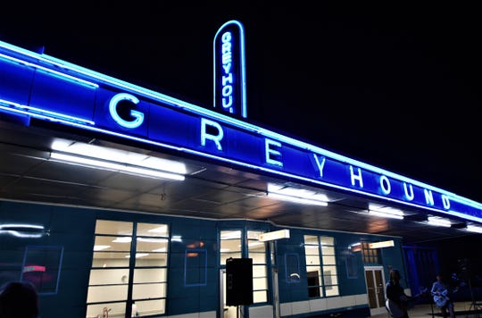 The Jackson Greyhound station lit up for the first time in 70 years on Sept. 5, 2019. The station was placed on the National Register of Historic Places in 1993.
