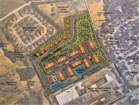 A preliminary concept plan for the Springs at Farragut off Boring Road was discussed at the Staff/Developer meeting on Sept. 3.