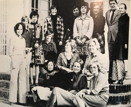Lucinda Denton, seated on the second row on the far right, is pictured in the Stone Ridge Country Day School of the Sacred Heart yearbook in 1975.