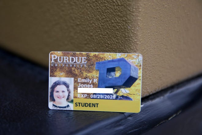 PHOTO ILLUSTRATION -- Emily Jones' new Purdue student ID that features an expiration date that allows the ID card to be used as a voter ID, Friday, Sept. 6, 2019 in West Lafayette.