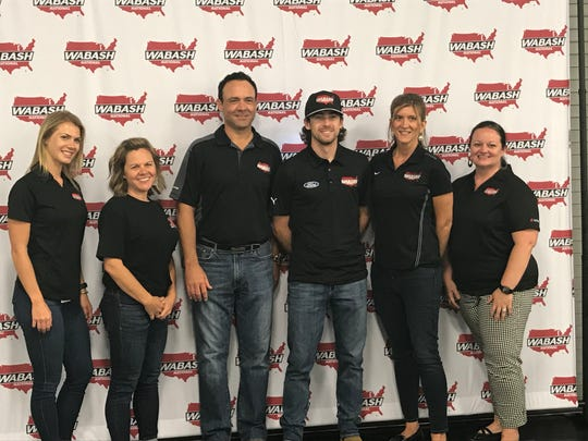 NASCAR driver Ryan Blaney, third from right, visited sponsor Wabash National Friday.