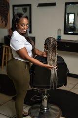 Ashley-Roxanne N'Dakpri's aunt and co-plaintiff, Lynn Schofield, was forced to close three of her four salons due to the state's hair braiding license requirements. N'Dakpri (pictured) now operates the fourth.