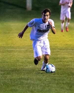 Nic Brousseau scored three goals in Pinckney's soccer victory over Adrian.