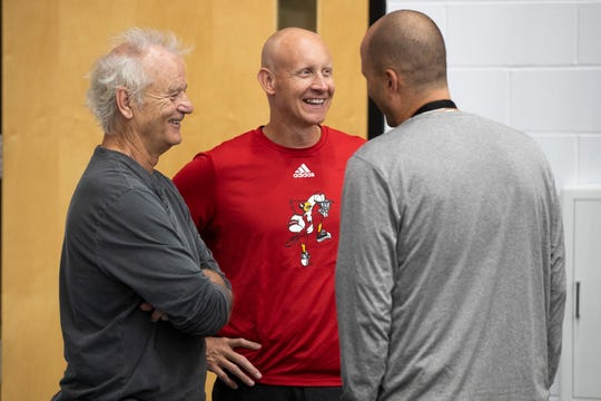 Actor Bill Murray, from left, stopped by the UofL basketball coach Chris Mack's Fantasy Experience to visit with his son, assistant coach Luke Murray, and his wife and Bill's grandson Luke Murray, Jr. 2. Sept. 6, 2019