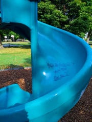 Karla Kay Harris found a racial slur on the slide at Ferris Park in downtown Lansing on Friday, Aug. 30
