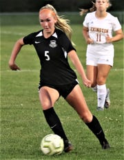 Ashland's Katie McQuillen scored a goal in a 6-0 win over Mount Vernon that gave the Lady Arrows the outright Ohio Cardinal Conference title.