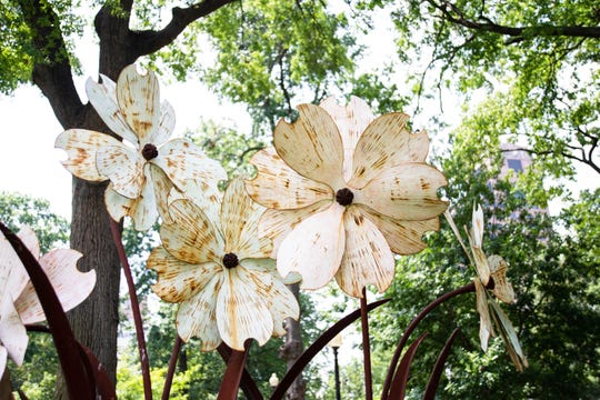 Metal flowers never wither: These beauties are in a garden at Court Square in Downtown Memphis.