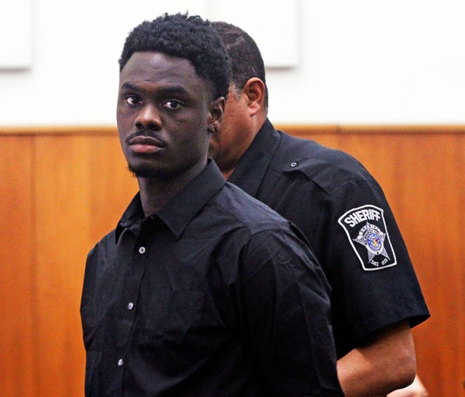 Marquille Wimberly, 25, is led into court during his trial in the homicide of Sadie Brazzoni on Friday, Sept. 6, 2019, at the Milwaukee County Safety Building.