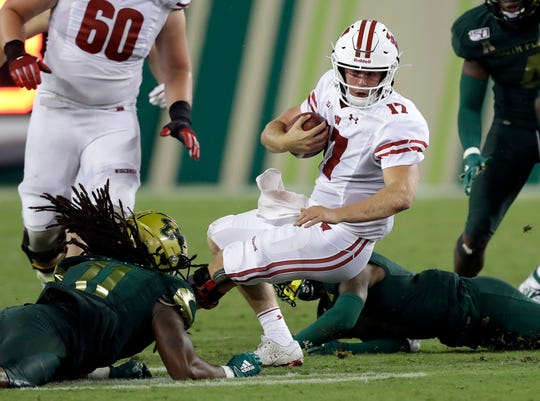 Wisconsin coaches weren't happy that quarterback Jack Coan was sacked three times against South Florida in the Badgers' season opener.