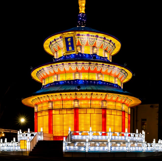 """""""China Lights: Treasures of China"""" opens Friday at Boerner Botanical Gardens. All but one of the lantern displays at this year's show is new, including """"Temple of Heaven."""""""