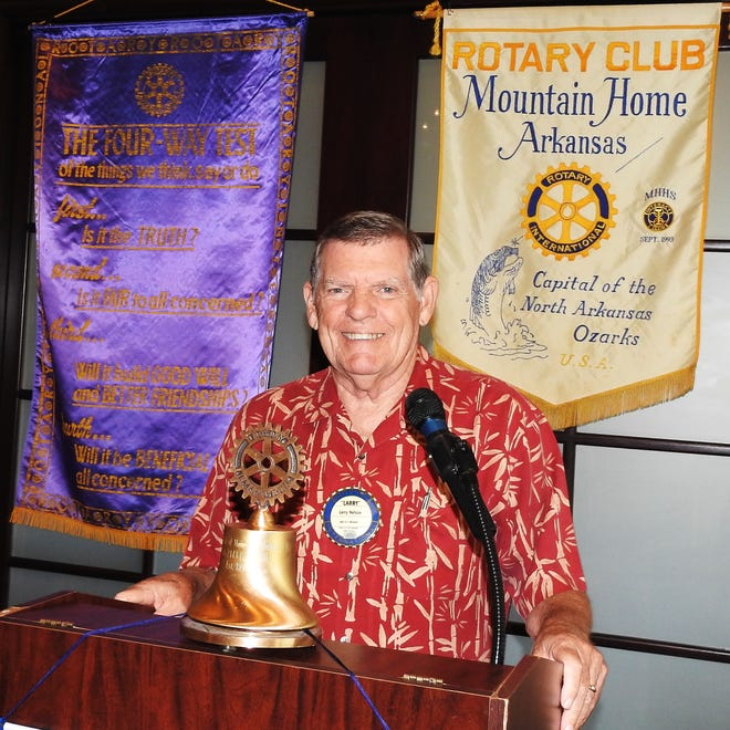 Larry Nelson recently presented the 'Four Way Test' to the Mountain Home Rotary Club.