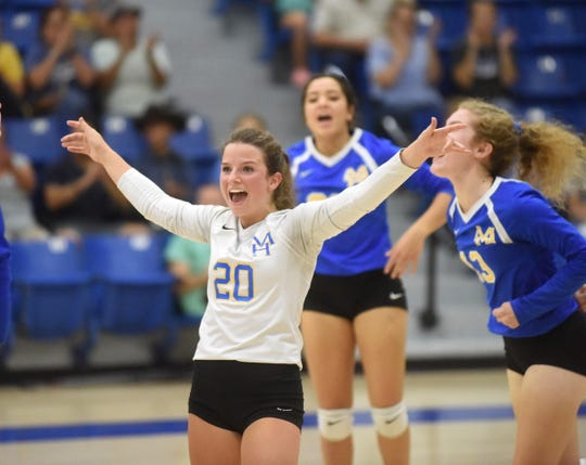 Mountain Home's Elaine Blackmon celebrates a point during a recent match.