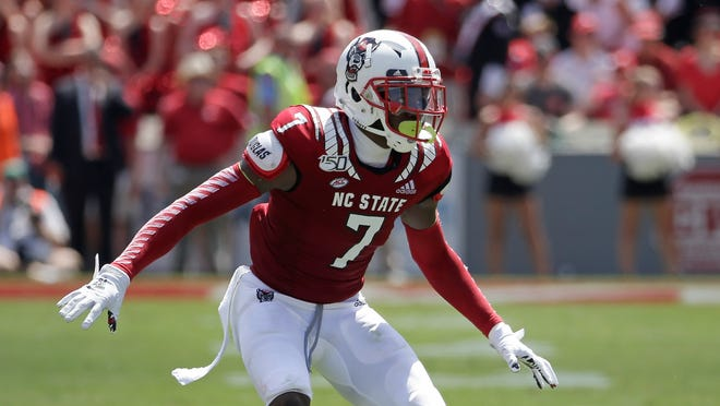 North Carolina State cornerback Chris Ingram (7) defends a pass play during the first half of an NCAA college football game against East Carolina in Raleigh, N.C., Saturday, Aug. 31, 2019. (AP Photo/Gerry Broome)