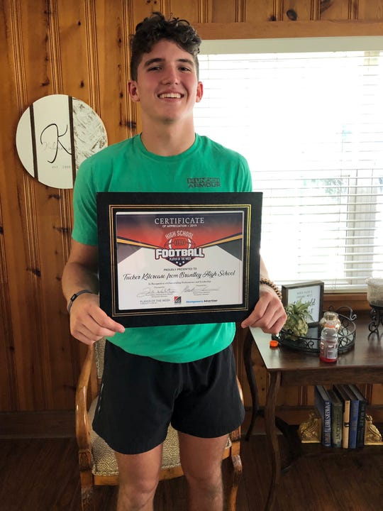 Tucker Kilcrease of Brantley, the ASE Credit Union high school football player of the week for Week 2