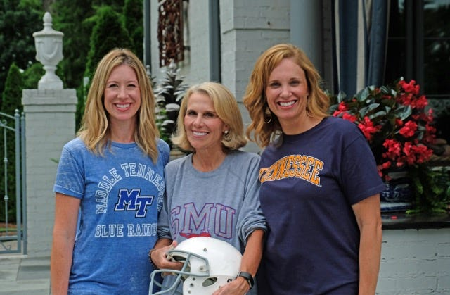 Getting ready for the Charity Circle Tailgate Party are, from left, chair Beth Cope, host Lynn Lien, and chair Rachel Haynes.