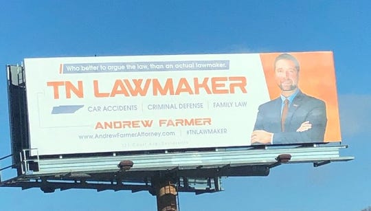 Attorney Andrew Farmer's billboards in East Tennessee once touted his role as a state lawmaker.