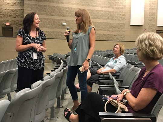 Brentwood parent Sara Melamed addresses her concerns at the recent district wide listening tour with superintendent Jason Golden at Centennial High School on Thursday.