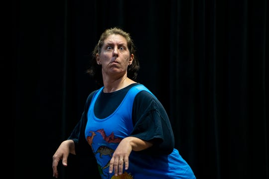 Melissa Henning rehearses a scene, Thursday, Sept. 5, 2019, at The Moe Auditorium at The Center for Performing Arts in Bonita Springs.