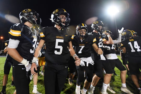 Hasbrouck Heights football at Cresskill on Thursday, September 5, 2019. C #5 QB Aidan Feulner and teammates celebrate defeating Hasbrouck Heights.