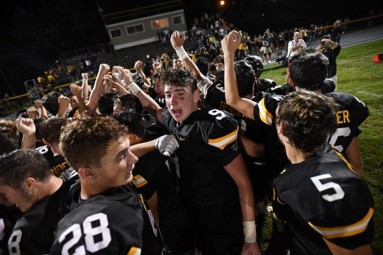 Hasbrouck Heights football at Cresskill on Thursday, September 5, 2019. Cresskill celebrates defeating Hasbrouck Heights.