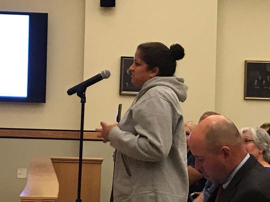 Mahwah resident Auris Browne of Osborne Court showed up the day of her move-in to speak in favor of a cell tower.