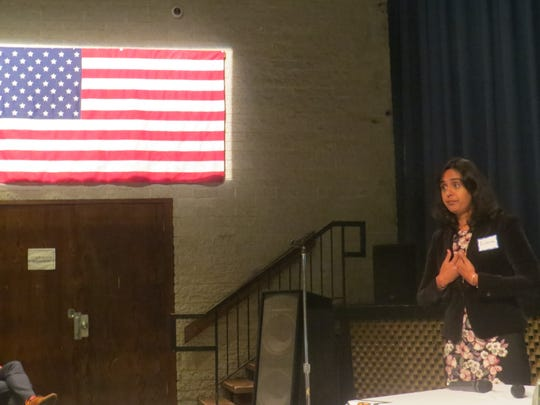 Rupande Mehta speaks during a meeting about the importance of the 2020 U.S. Census, at Parsippany Hills High School. Sept. 5, 2019.