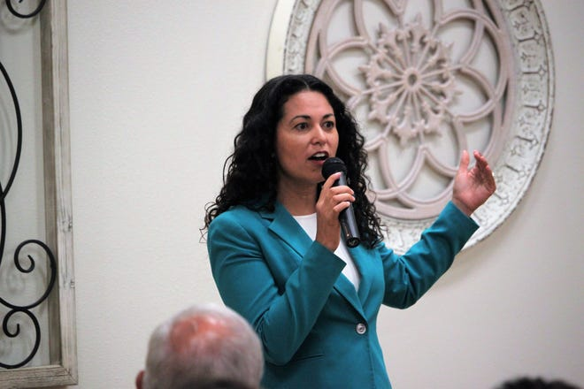 U.S. Rep. Xochitl Torres Small, D-NM, answers a question during her town hall at the Munson Senior Center in Las Cruces on Thursday, September 5, 2019.
