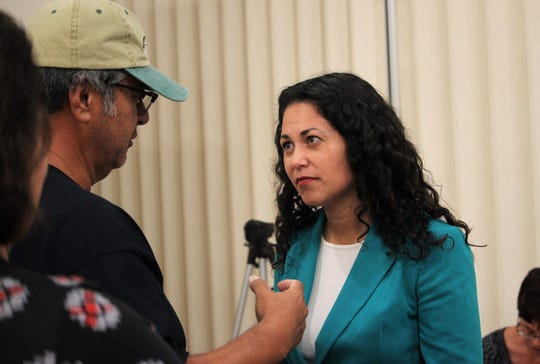 U.S. Rep Xochitl Torres Small, D-NM, speaks with a constituent following her town hall at the Munson Senior Center in Las Cruces on Thursday, September 5, 2019.