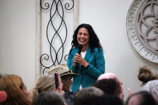 U.S. Rep. Xochitl Torres Small, D-NM, greets the audience at her town hall at the Munson Senior Center in Las Cruces on Thursday, September 5, 2019.