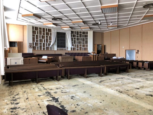 Carpet and other fabrics have been removed from the chapel in The Church of Jesus Christ of Latter-day Saints on West Apache Street in Farmington. A June 1, 2019 fire caused smoke damage to most of the structure built in the 1950s.