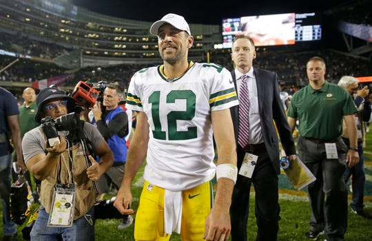 Green Bay Packers quarterback Aaron Rodgers (12) smiles as he walks off the field after the Green Bay Packers 10-3 win over the Chicago Bears at Soldier Field in Chicago on Thursday, Sept. 5, 2019.  Photo by Mike De Sisti/Milwaukee Journal Sentinel