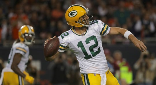Green Bay Packers quarterback Aaron Rodgers (12) chucks the ball downfield during the second quarter of their game against the Chicago Bears Thursday, September 5, 2019 at Soldier Field in Chicago, Ill.