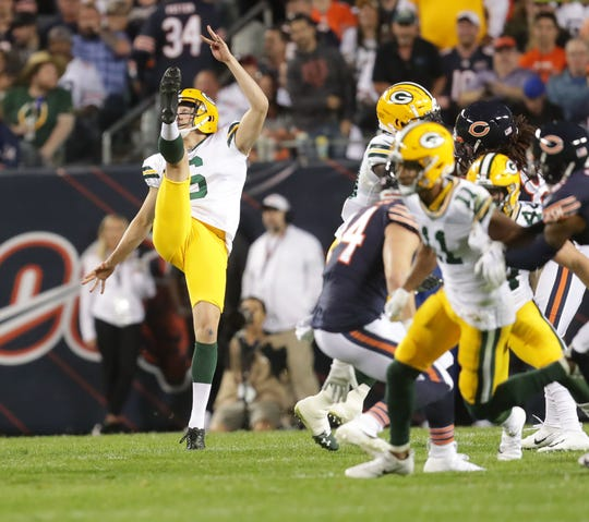Green Bay Packers punter J.K. Scott (6) punts during the 1st half of the Green Bay Packers Chicago Bears football game at Soldier Field in Chicago on Thursday, Sept. 5, 2019.  Photo by Mike De Sisti/Milwaukee Journal Sentinel