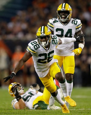 Green Bay Packers defensive back Darnell Savage (26) celebrates breaking up a pass in the first half against the Chicago Bears Thursday, September 5, 2019, at Soldier Field in Chicago, Ill. Dan Powers/USA TODAY NETWORK-Wisconsin