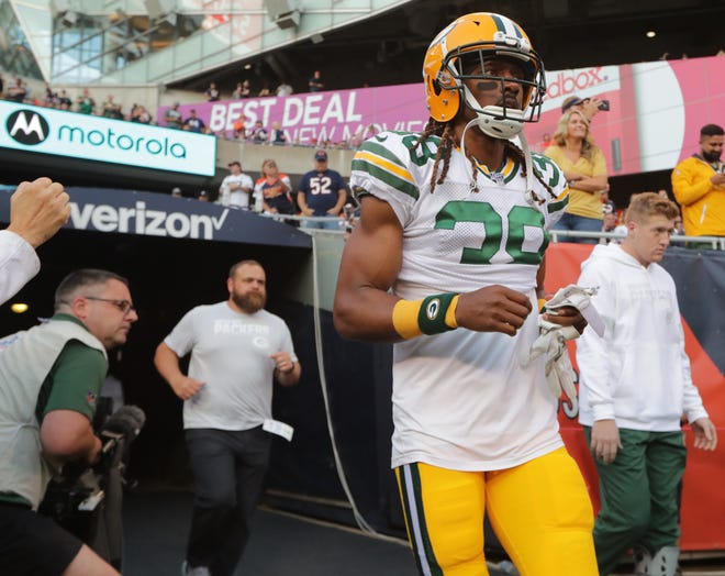 Green Bay Packers cornerback Tramon Williams  is shown  before their game against the Chicago Bears Thursday, September 5, 2019 at Soldier Field in Chicago, Ill.