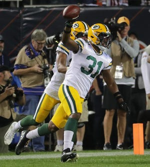 Green Bay Packers strong safety Adrian Amos (31) celebrate his his interception that sealed the game during the fourth quarter of their game Thursday, September 5, 2019 at Soldier Field in Chicago, Ill. The Green Bay Packers beat the Chicago Bears 10-3.MARK HOFFMAN/MILWAUKEE JOURNAL SENTINEL