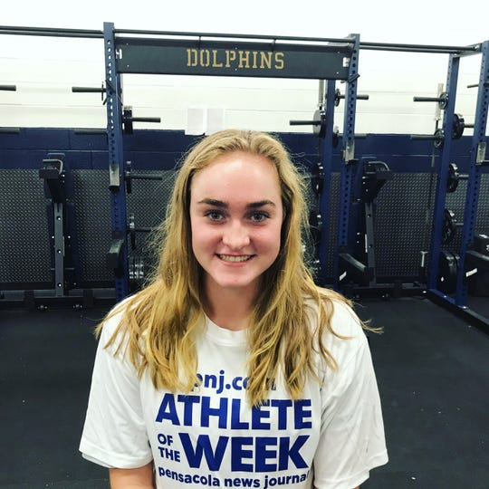Gulf Breeze senior setter Anna Marks is the PNJ Athlete of the Week from Aug. 5-31 for her 59 assists against Pace and Pensacola.
