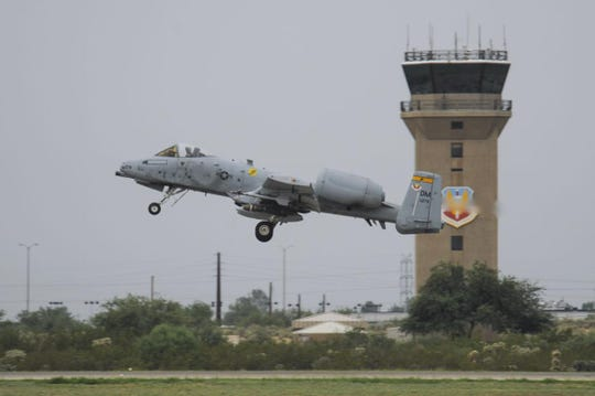 An A-10C Thunderbolt II from the 357th Fighter Squadron departs Davis-Monthan Air Force Base.