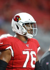 Aug 8, 2019; Glendale, AZ, USA; Arizona Cardinals offensive tackle Marcus Gilbert (76) during a preseason game against the Los Angeles Chargers at State Farm Stadium.