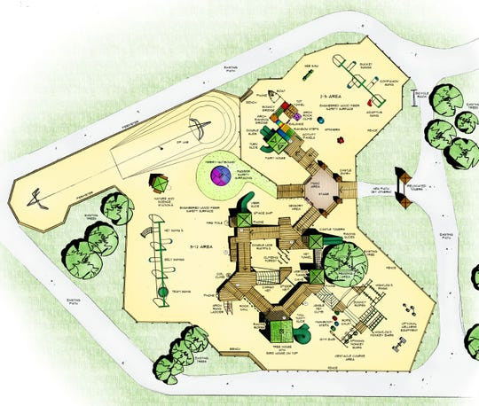 A drawing shows the second-generation, custom-build Imagination Station playground planned for Greig Park.