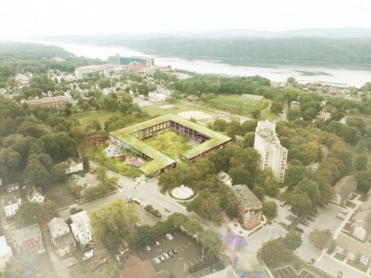 The Eastman Campus proposal, center, for the YMCA site in the City of Poughkeepsie.