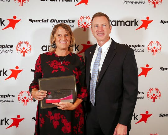 Dallastown teacher and coach Deb Gable (left) was named Pennsylvania Special Olympics Coach of the Year last month.