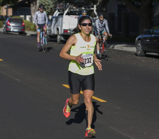 Ramona Sanchez won the women's division of the Reno 10 Mile race as part of the 50th Annual Journal Jog in Reno, Nevada on Sept 9, 2018.