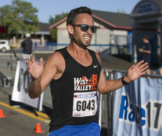 Men's 10-Mile winner Lupe Cabada during the 50th Annual Journal Jog in Reno on Sept. 9, 2018.