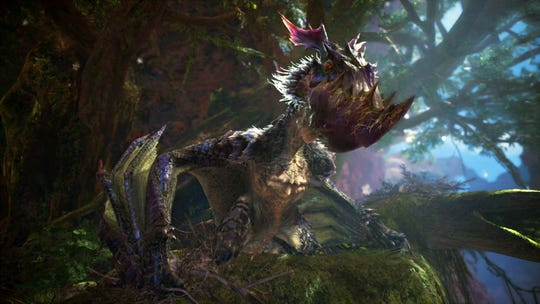 Yian Garuga is perched at the Guiding Lands in Monster Hunter World Iceborne.