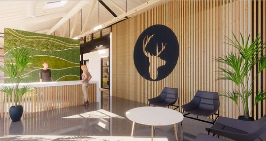 This is a depiction of what the inside lobby will look like at Bethel Music's headquarters in downtown Redding.