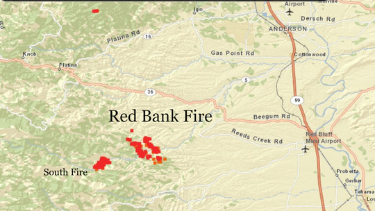 Red Bank fire map and mandatory evacuation zones Calfire Fire Map on pg&e fire map, northern california fires map, california active fires map, county fire map, san jose fire map,