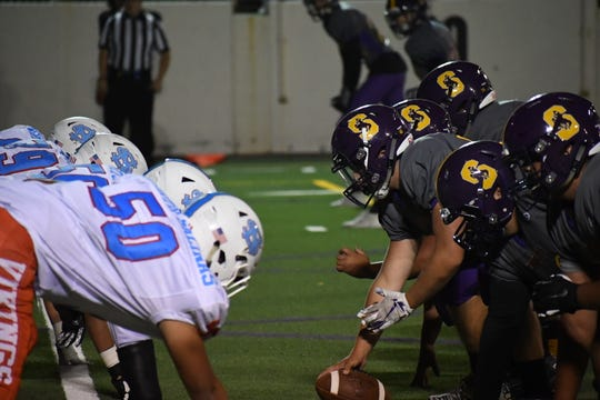 """The Salinas Cowboys and North Salinas Vikings met for the 2019 edition of """"The Big Game."""" Sept. 5, 2019."""