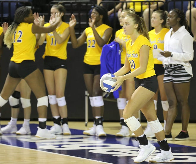 Angelo State University's Meghan Parker gets ready to serve during a match against Southeastern Oklahoma at the Kathleen Brasfield ASU Invitational Friday, Sept. 6, 2019. The Rambelles won 25-7, 25-11, 20-25, 25-10.