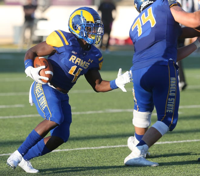 Angelo State University running back Bam Howard helped lead the Rams to a season-opening victory against Western Oregon at LeGrand Stadium at 1st Community Credit Union Field Thursday, Sept. 5, 2019.